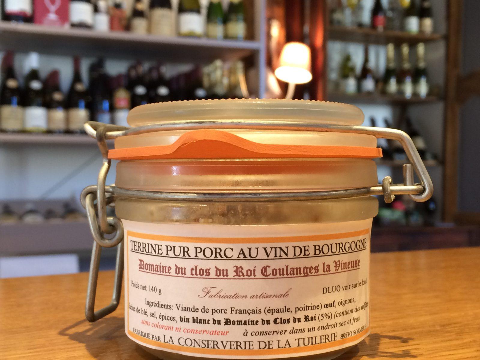 Terrine de chardonnay du Clos du Roi à Coulanges la Vineuse par La Conserverie de la Tuilerie à Sormery