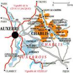 carte du vignoble du grand auxerrois en bourgogne