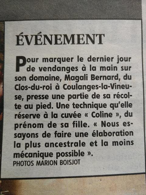 La Une du 22 septembre 2019 de l'Yonne Républicaine sur les vendanges de la cuvée Coline du domaine du Clos du Roi à Coulanges la Vineuse