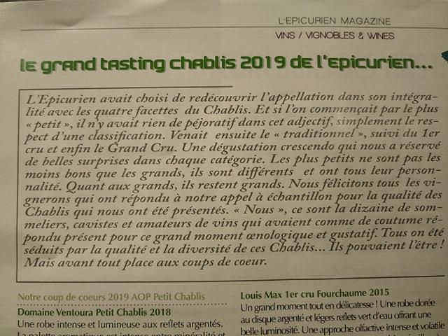 résultats de la sélection des vins de Chablis par L'Epicurien Magazine